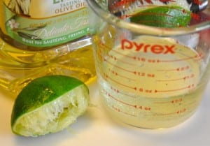 lime juice and oil for dressing