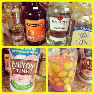 Island Lemonade Ingredients of rum, vodka, gin, peach schnapps and lemonade mix