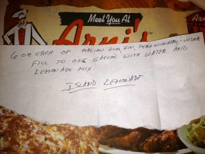 Island Lemonade Recipe Handwritten on restaurant napkin