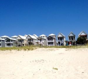 Beach view of skinny houses on St. George Island