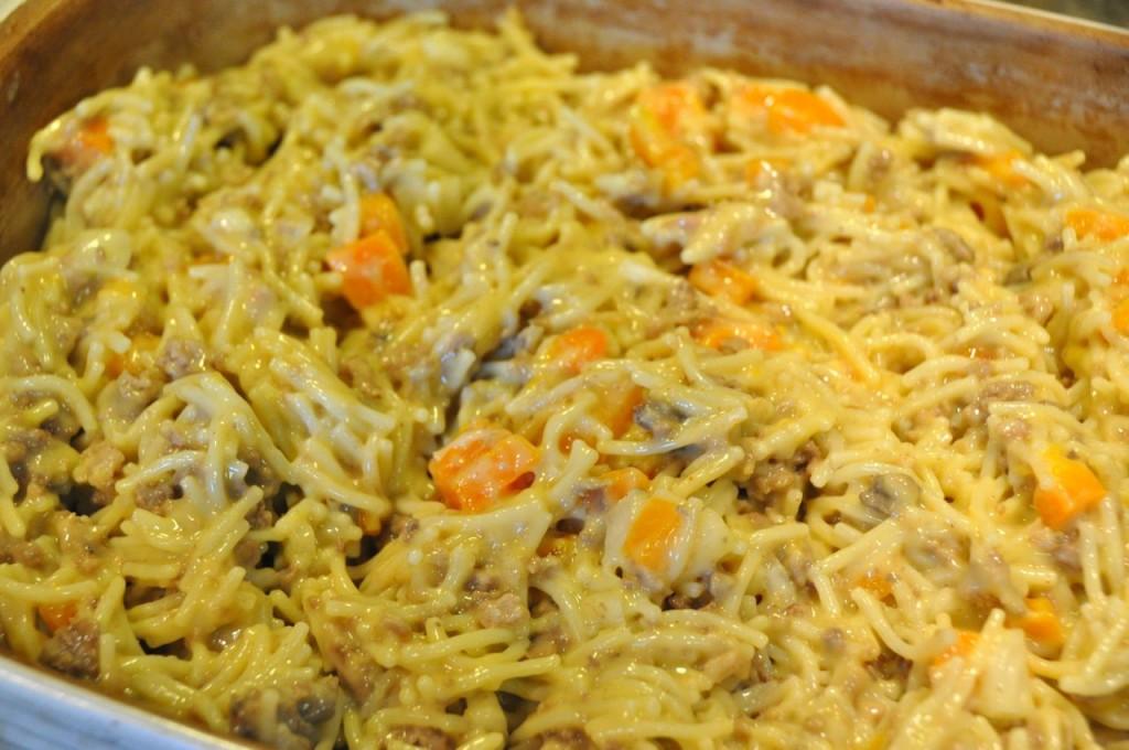 mixed beef spaghetti casserole