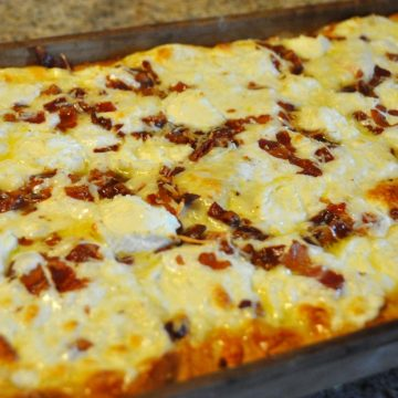 Homemade Cheese and Bacon Pizza