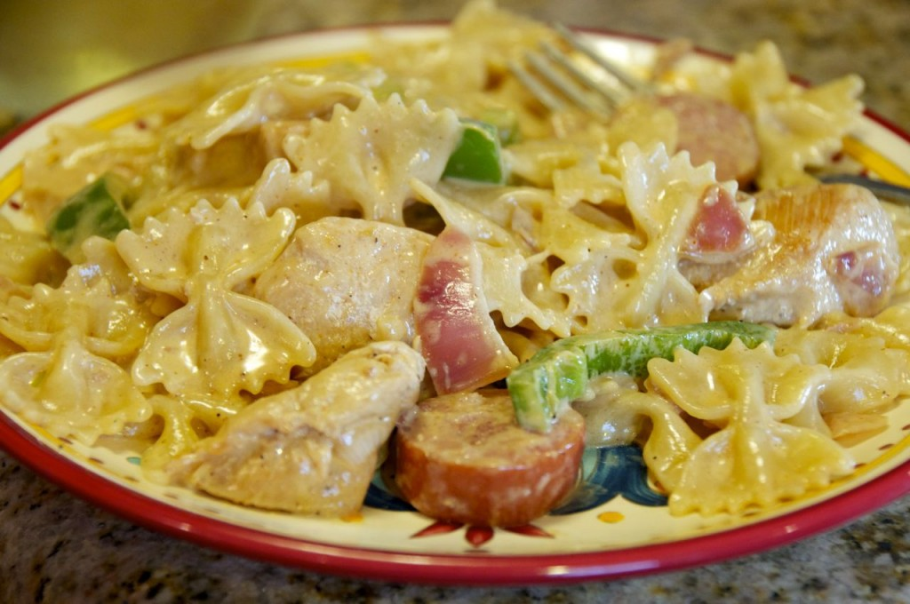 Cajun chicken and polish sausage pasta