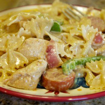Cajun chicken and polish sausage pasta
