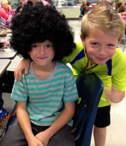 boys dressed up for 80's day