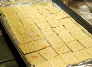 saltine crackers laid out