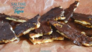 Saltine cracker toffee is a four-ingredient candy recipe that is easy to make with saltine crackers, butter, brown sugar, and chocolate chips and baked quickly before being broken into pieces.