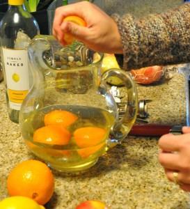 quartered oranges for sangria