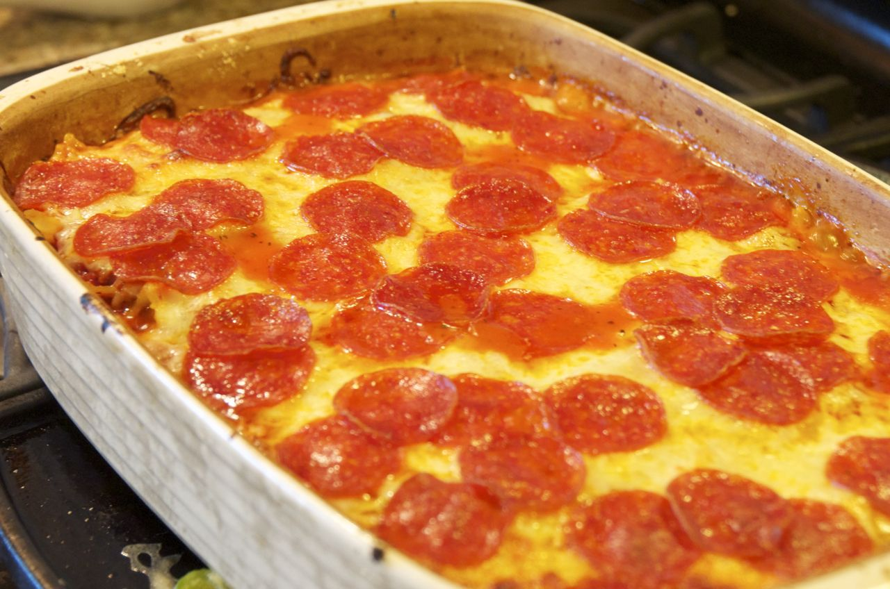 Pepperoni and Sausage Pizza Casserole - Beyer Beware