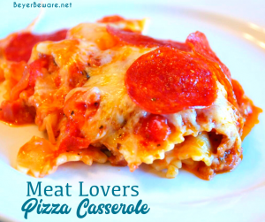 Meat lovers pizza casserole is a simple pizza pasta casserole recipe loaded with pepperoni and sausage, spaghetti sauce, and cheese.