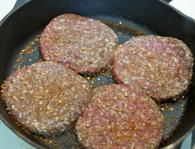 Hamburger Patties Frying