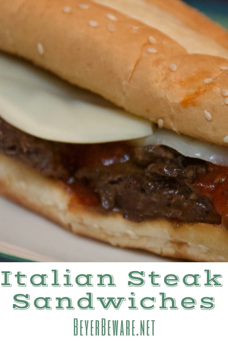 Joe's Italian Steak Sandwiches are an easy steak sandwich recipe perfect for a weeknight meal, done in under 30 minutes with the help of pre-made beef patties. #SteakSandwich #BeefRecipes #Weeknightmeals