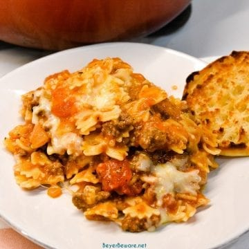 Easy Skillet lasagna is a quick one pan lasagna recipe made with ground beef and pasta with plenty of cheese and tomato sauce in less than 30 minutes to fill up your hungry family.