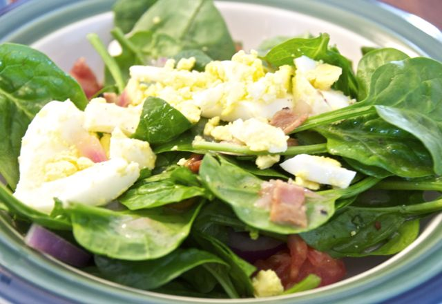 quick and easy salad with a warm dressing that has a mixture of ...