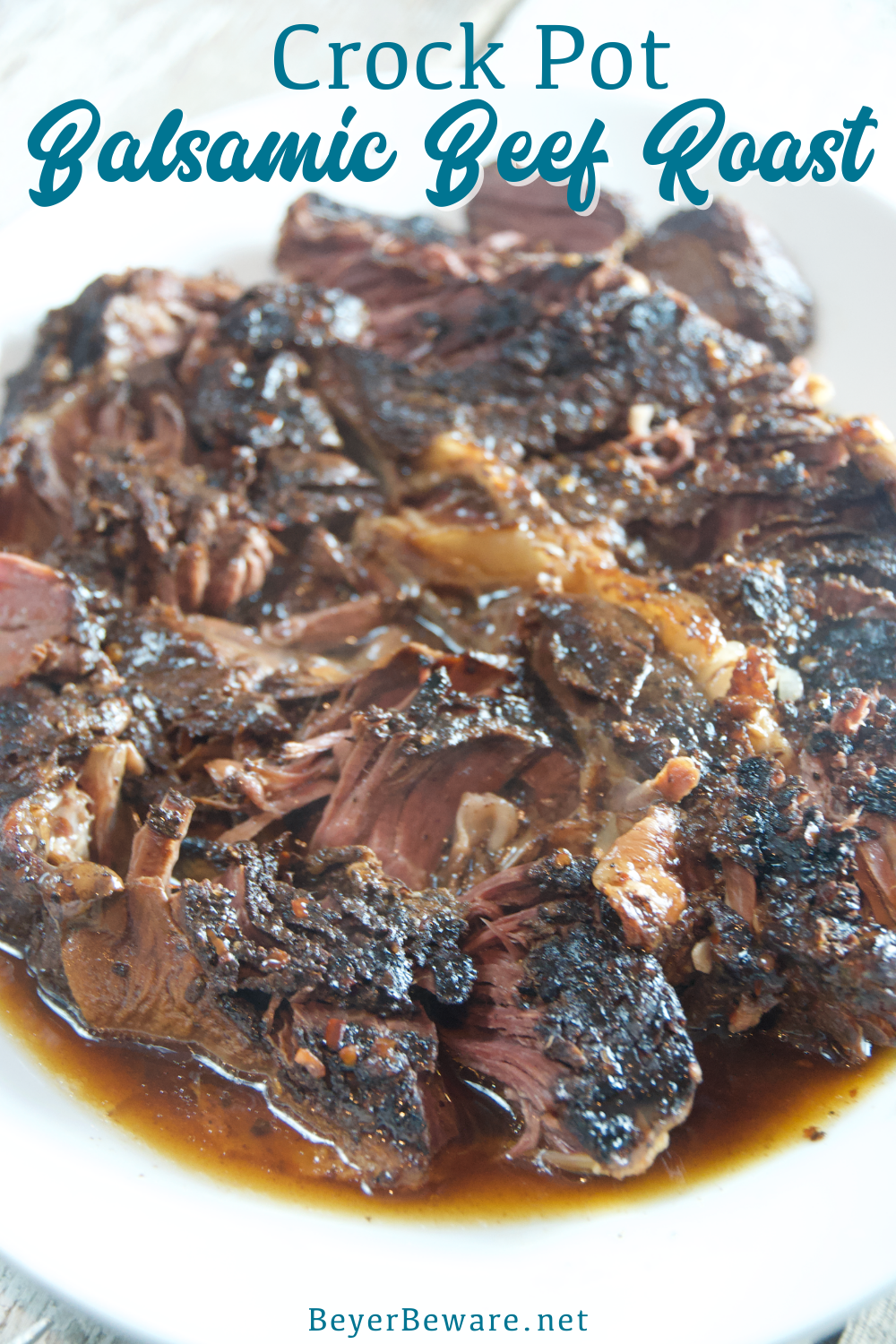 Crock Pot balsamic beef roast recipe combines balsamic vinegar with honey and red peppers over a beef roast for a tender and juicy slow cooker beef roast.