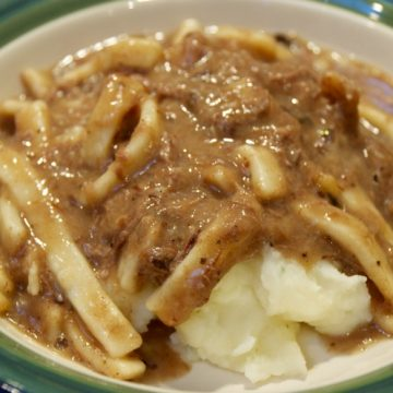 Quick Beef and Noodles over mashed potatoes