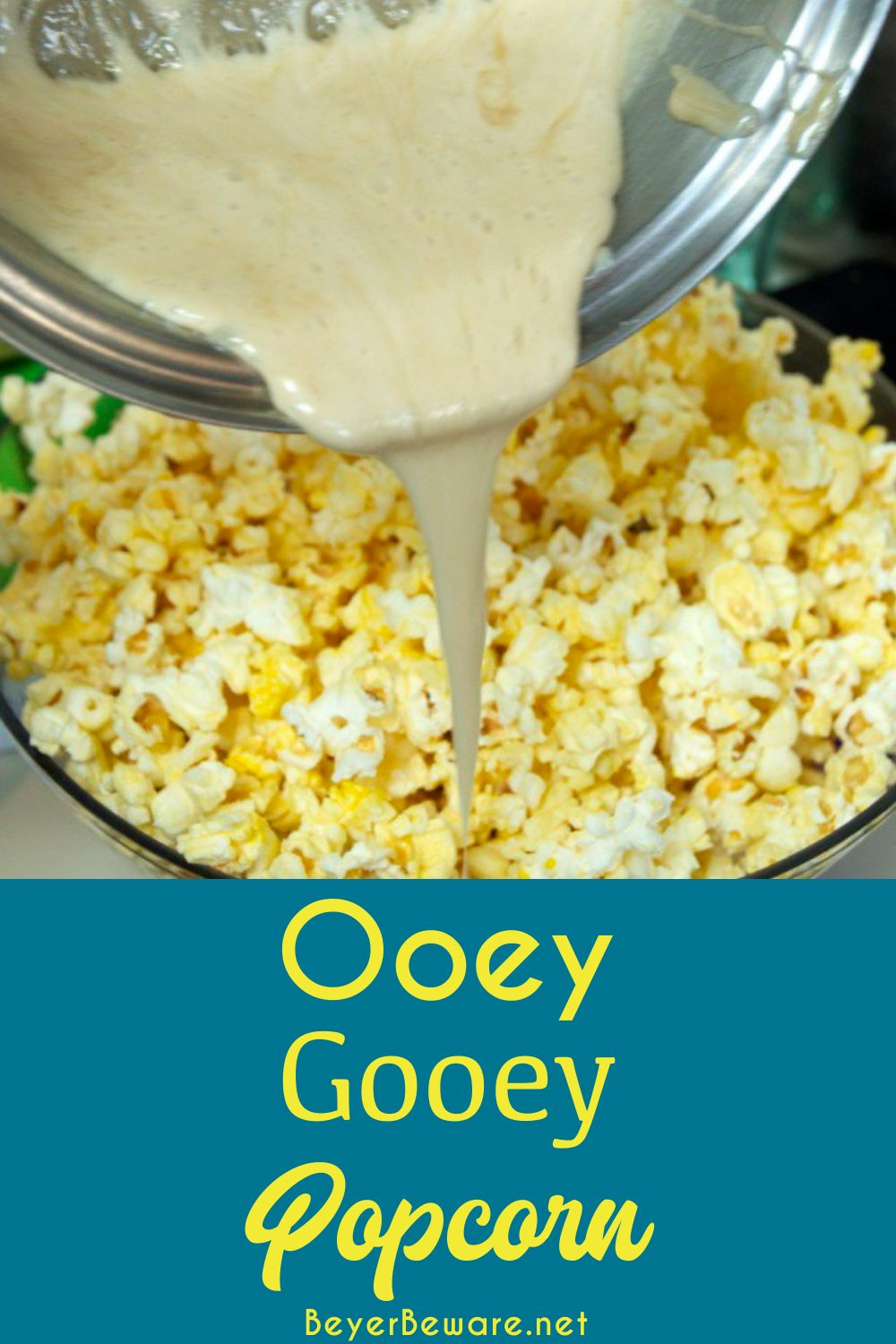 Ooey-Gooey Popcorn is made with marshmallow cream, theater popcorn, and more butter for a sweet and salty marshmallow popcorn snack.