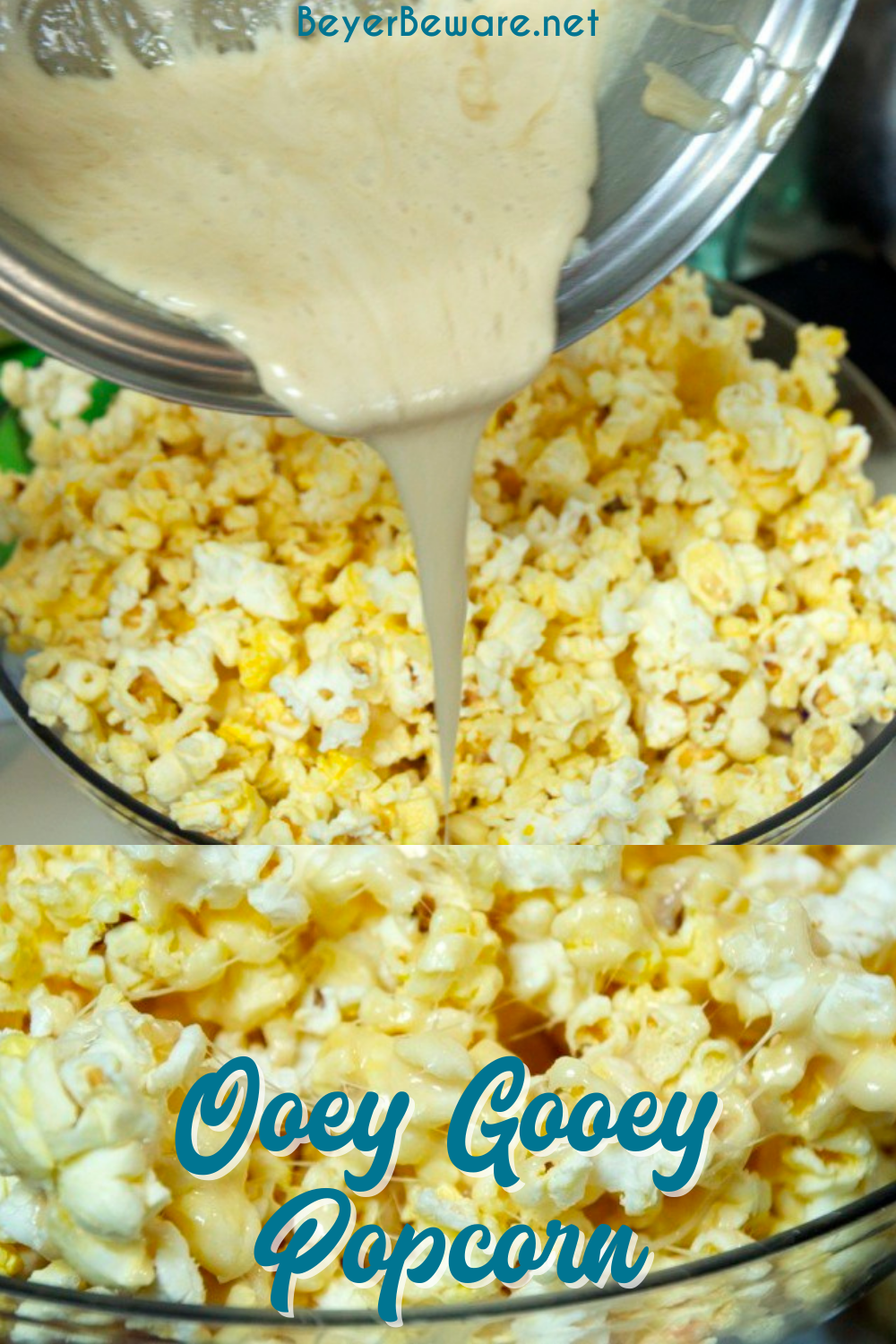 Ooey-Gooey Popcorn is made with marshmallow cream, theater popcorn, and more butter for a sweet and salty marshmallow popcorn snack. This popcorn snack is like popcorn balls in a large bowl.