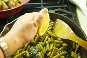 lemon juice over friend green beans