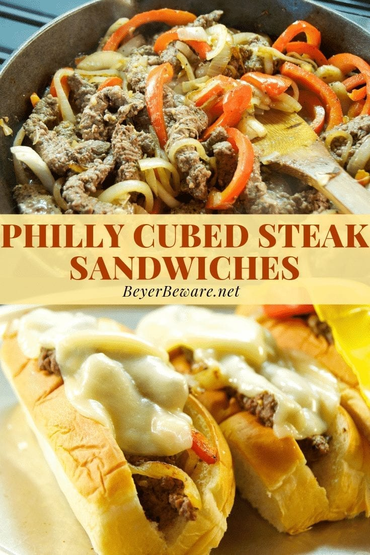 Philly cubed steak sandwiches recipe is an easy dinner recipe with Philly cheese steak flavors in onions, peppers, and cheese made fast with cubed steaks. #PhillyCheesesteak #Beef #CubedSteak #Cubesteak #Steak #easydinnerrecipes