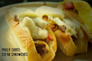 Hunk of Meat Monday: Philly Cubed Steak Sandwiches
