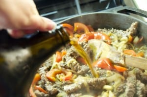 Beer pour to meat skillet