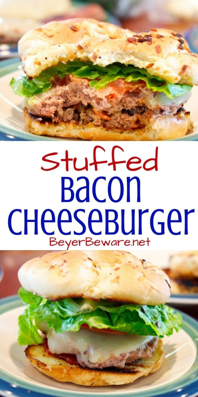 Bacon Burgers - Stuffed Bacon Cheeseburgers. Everyone loves a good cheeseburger. Add bacon, onions, and mushrooms to the middle of the bacon burgers, and take a plain burger to an amazing stuffed bacon cheeseburgers.