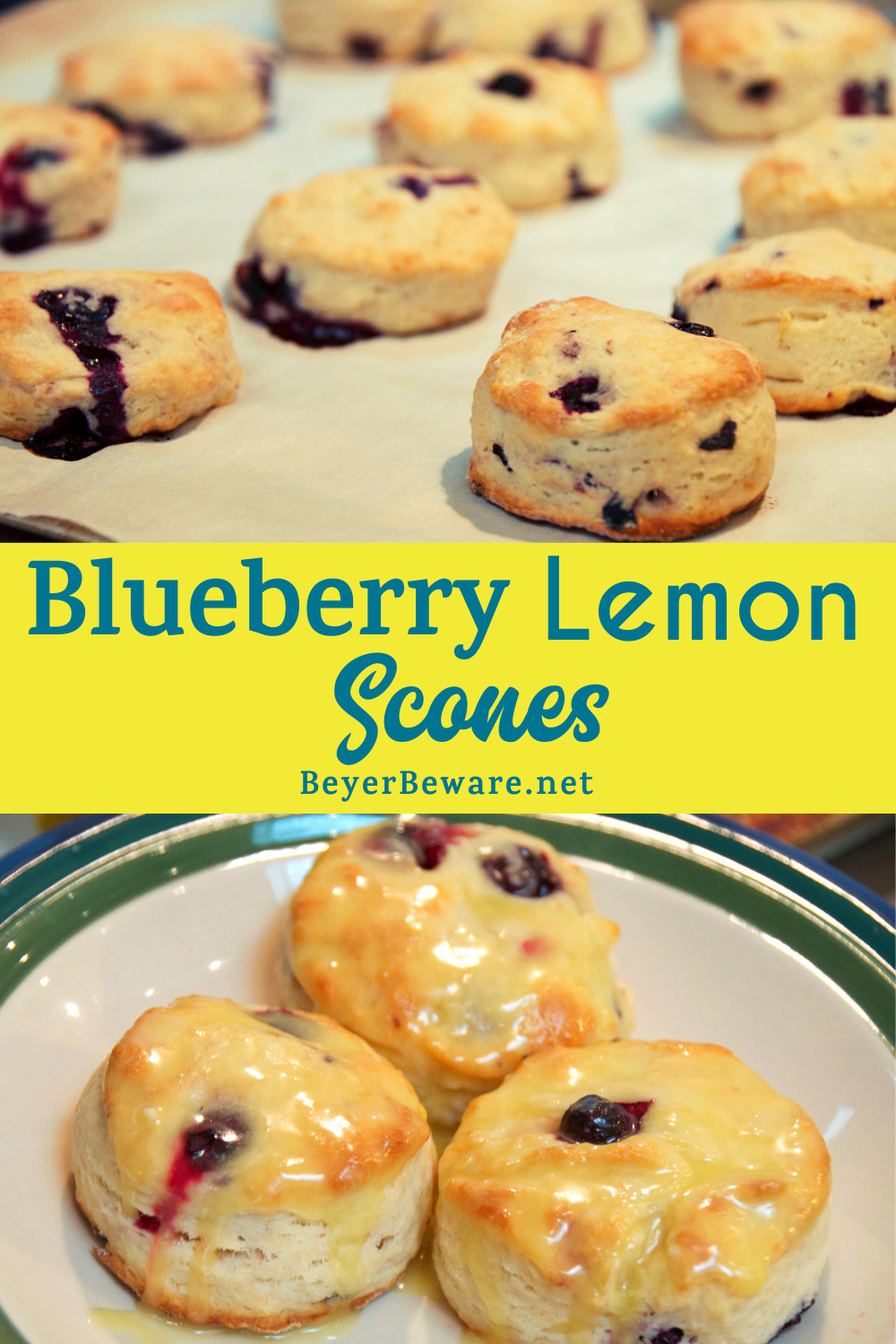 Blueberry lemon scones are the perfect homemade scone recipe with a delicate texture and the perfect combination of flavors with the fresh lemon and blueberries, topped with a simple lemon glaze.
