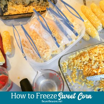 How to freeze sweet corn without blanching the corn and requiring to cut corn off of hot cobs and instead making a simple sugar and salt brine to freeze the corn in is the way I grew up freezing sweet corn.