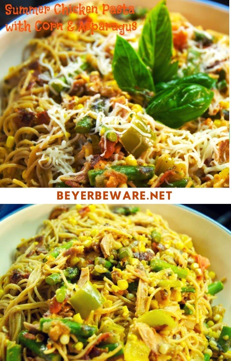 Summer chicken bacon pasta with corn and asparagus is a light, flavorful chicken pasta recipe that is easy to make and perfect for all the summer veggies and herbs.