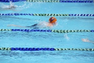 Boo swimming the butterfly