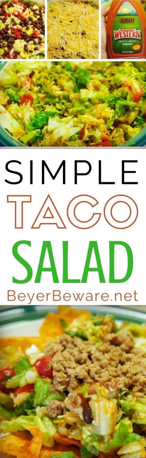 Simple taco salad recipe made with Doritos - The most simple dishes make the best suppers. This simple taco salad is a quick recipe combining ranch and French dressings with nacho cheese Doritos.