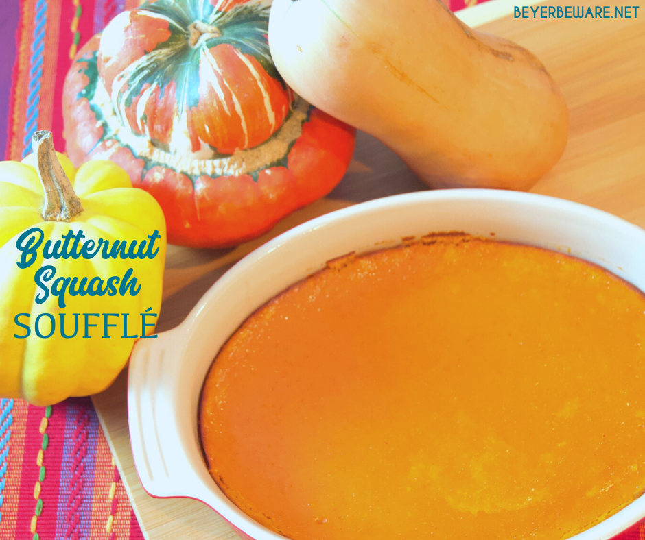 Butternut squash souffle recipe is sweet and savory fall casserole that has a light and fluffy texture that is like eating dessert for dinner.