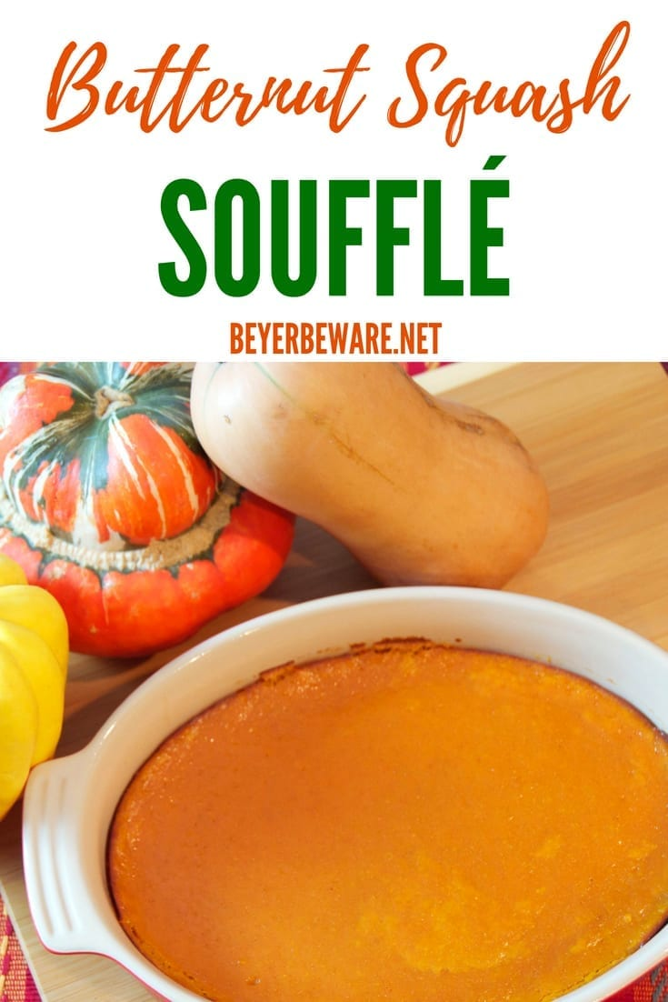 The flavors of fall explode in this butternut squash souffle recipe. A sweet and savory fall casserole to make in place of a pumpkin or sweet potato side dish.