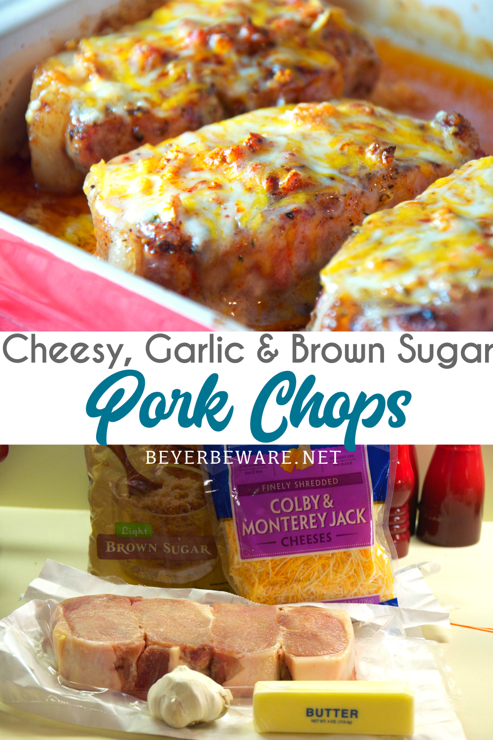 Cheesy garlic and brown sugar pork chops are a simple pork chops recipe cooked in the oven in under 30 minutes for an easy weeknight meal.