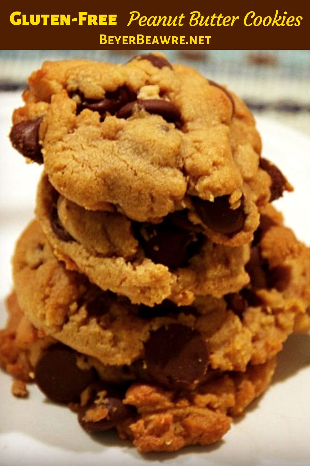 Gluten-Free Peanut Butter cookies are an easy flourless peanut butter chocolate chip cookies with just four ingredients for a simple gluten-free recipe. #GlutenFree #PeanutButter #Flourless #Recipes #GlutenfreeRecipes
