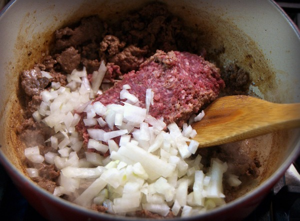 Browning beef for burritos