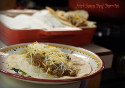 Quick Spicy Beef burritos on corn tortillas
