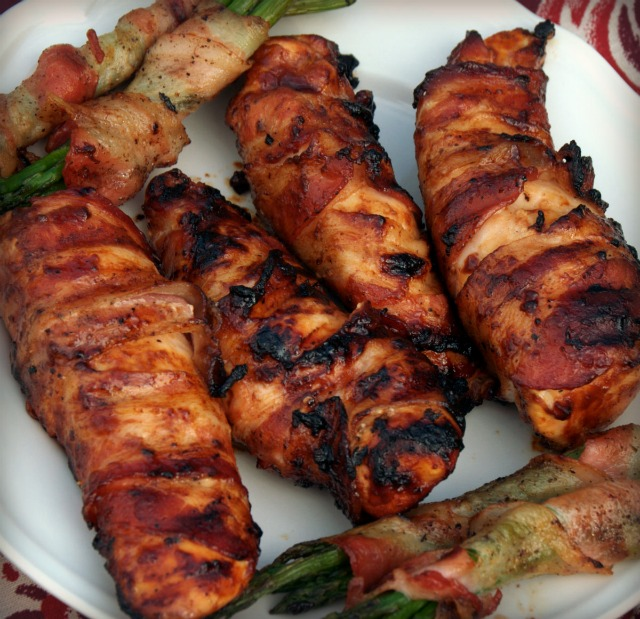Bacon wrapped BBQ chicken