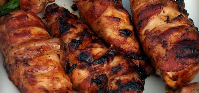 Hunk of Meat Monday: Bacon Wrapped BBQ Chicken