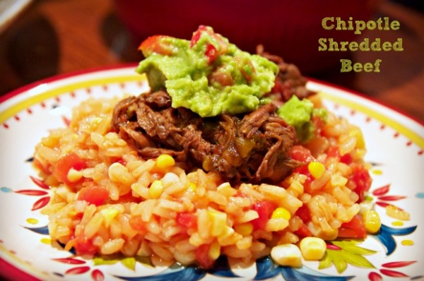 Chipotle shredded beef risotto