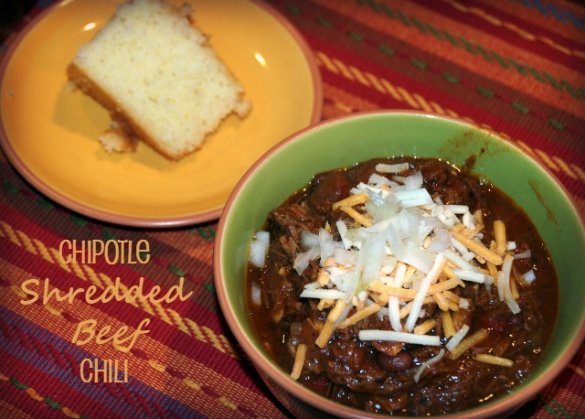 Chipotle Shredded Beef Chili and Cornbread. My new favorite chili recipe.