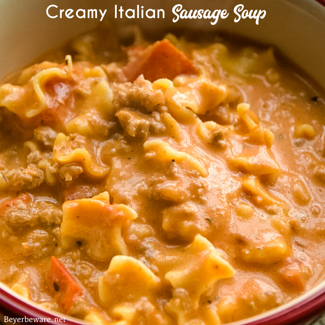Creamy Italian Sausage Soup recipe is my new go-to tomato and sausage soup recipe that is rich and hearty, perfect for an easy dinner.