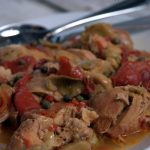 This crock pot Italian chicken recipe is full of flavor with the artichokes, roasted red peppers, capers and of course white wine.