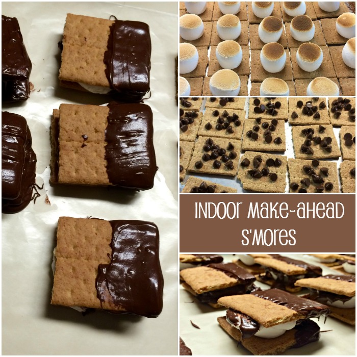 Indoor Make-ahead S'mores are an easy recipe that can be made up in large quantities prior to any event where an easy to distribute and eat dessert is needed.