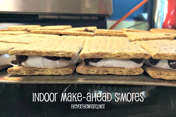 Indoor Make Ahead S'mores can be dipped or chocolate or left plain just like you do around a campfire.