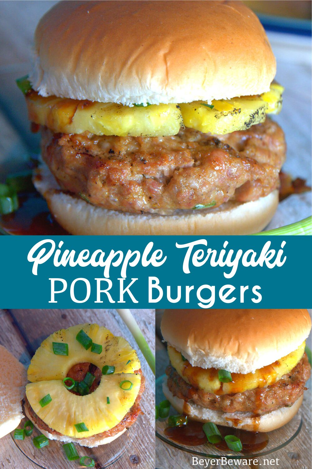 This grilled pineapple pork burger recipe mixes Asian seasonings with ground pork then topped with a slice of grilled pineapple and a teriyaki sauce.