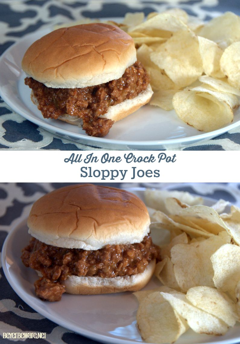 Make this entire recipe of crock pot sloppy joe for dinner without dirtying another pan or pot. Simple, Delicious family meal