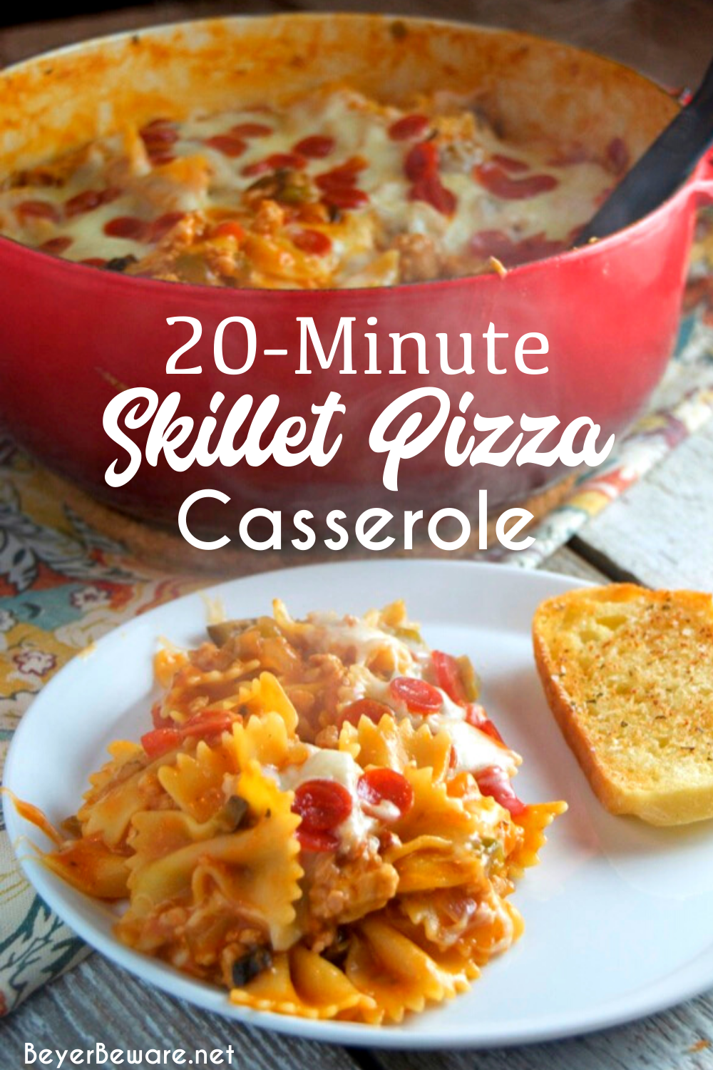 20-Minute Skillet Pizza Casserole is a quick weeknight pasta meal all made in the same pan and filled with all the ingredients you love on your favorite pizza.