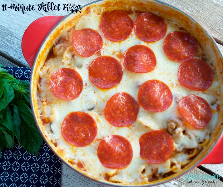 This 20-minute skillet pizza casserole is full of flavor, packed with veggies and will be a family favorite.